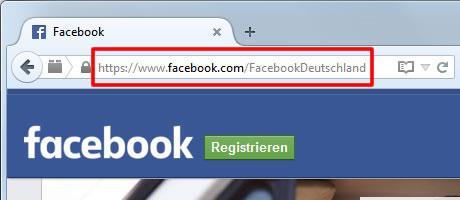 Rufen Sie Ihre Facebook-Seite auf und kopieren Sie die URL.